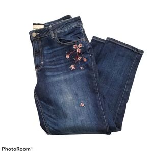 Maurices floral embroidered medium wash jeans